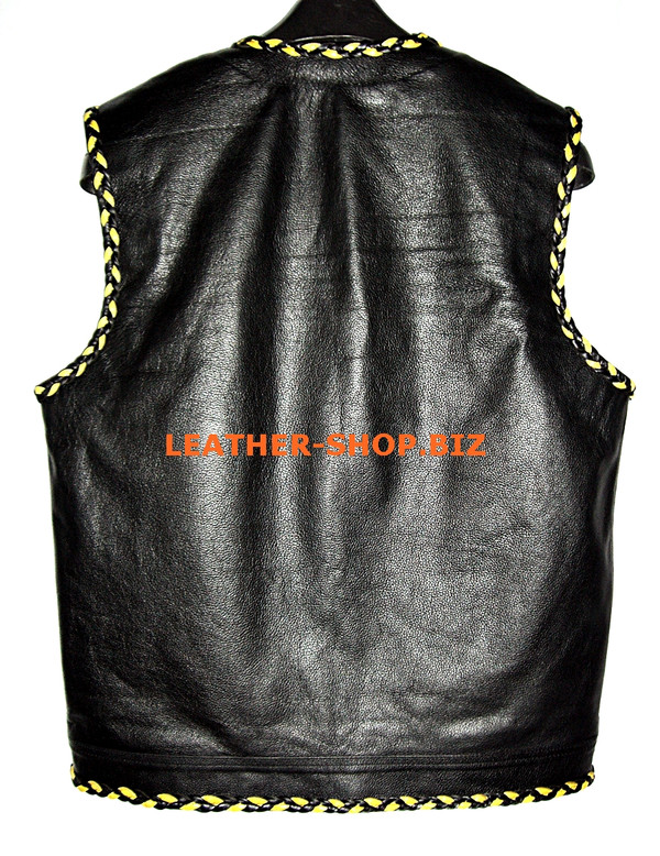 Mens leather vest with 2 color braid style MLVB1299 hidden front zipper and no seams on back, vest back pic