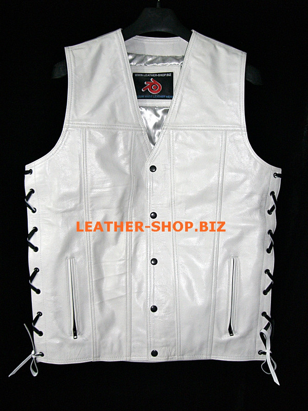 Mens leather vest style MLV1341 no seams on back and hidden front zipper front pic