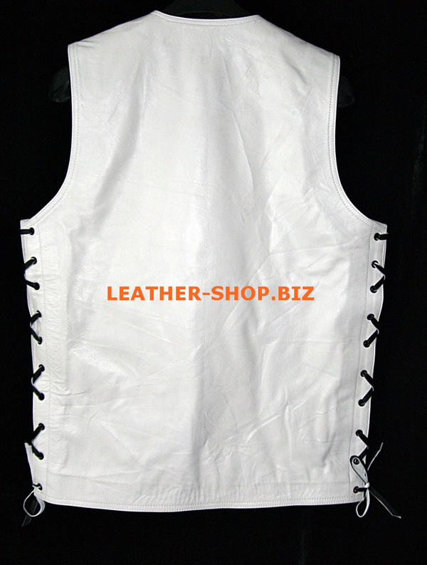 Mens leather vest style MLV1341 no seams on back and hidden front zipper back pic