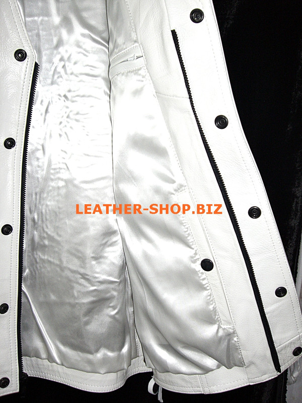 Mens leather vest style MLV1341 no seams on back and hidden front zipper, inside pocket pic