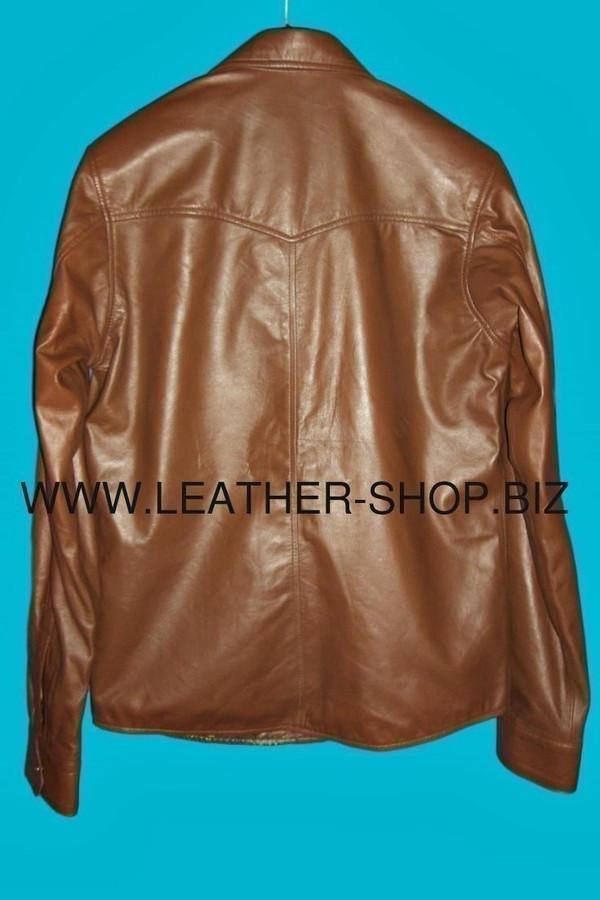 Leather shirt custom made style LS040 shirt back pic