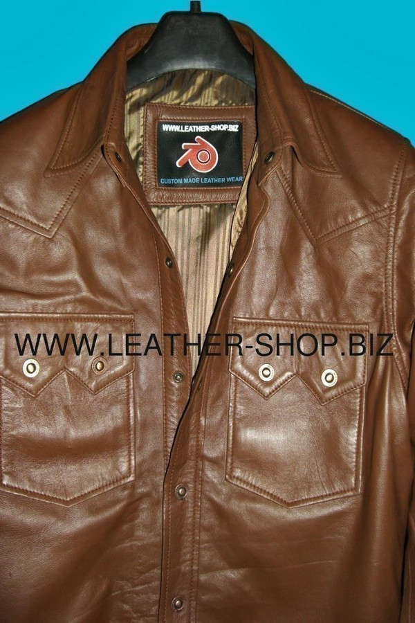 Leather shirt custom made style LS040 shirt collar and chest pockets pic