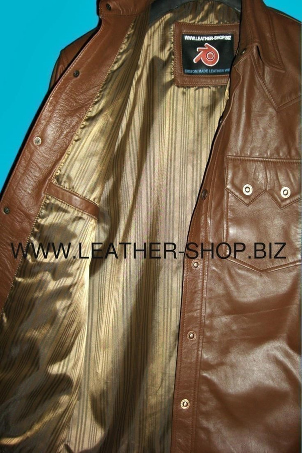 Leather shirt custom made style LS040 shirt right inside pocket pic