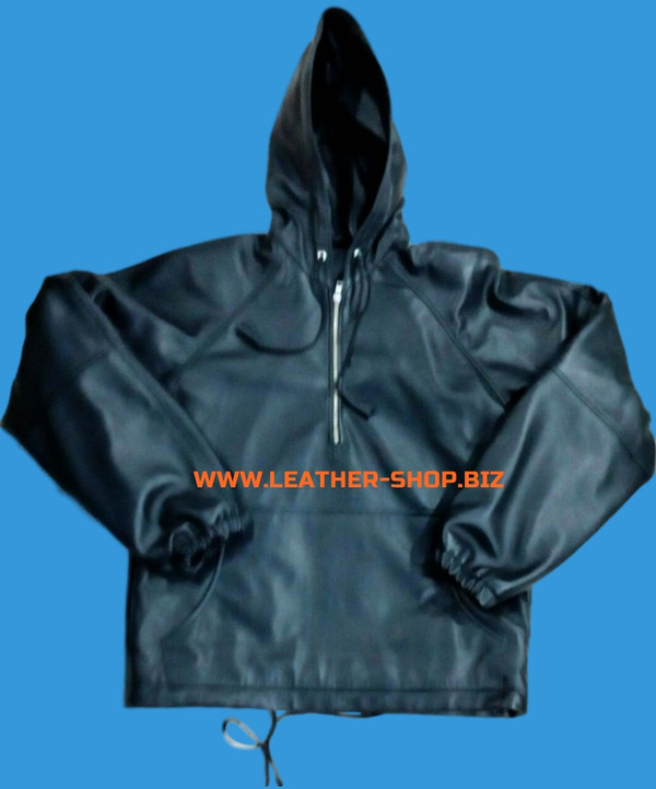 Leather Hoodie style LLH55 custom made WWW.LEATHER-SHOP.BIZ hoodie with lambskin lining front pic 2