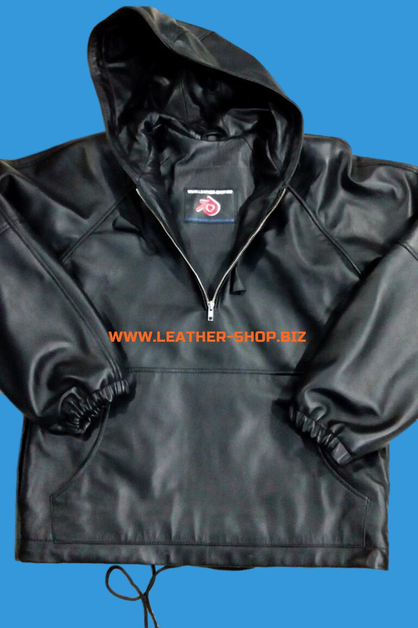 Leather Hoodie style LLH55 custom made WWW.LEATHER-SHOP.BIZ hoodie with lambskin lining front pic