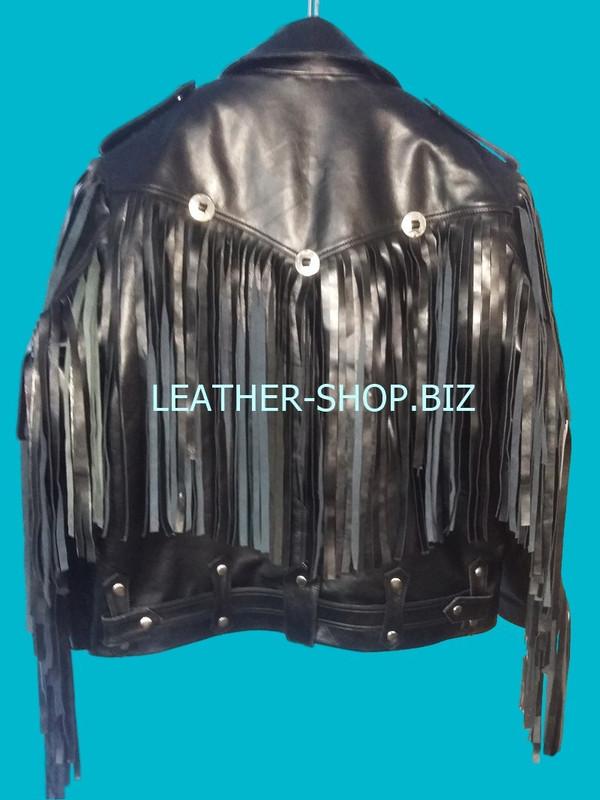 mens leather jacket with fringes custom made back pic style mljf209