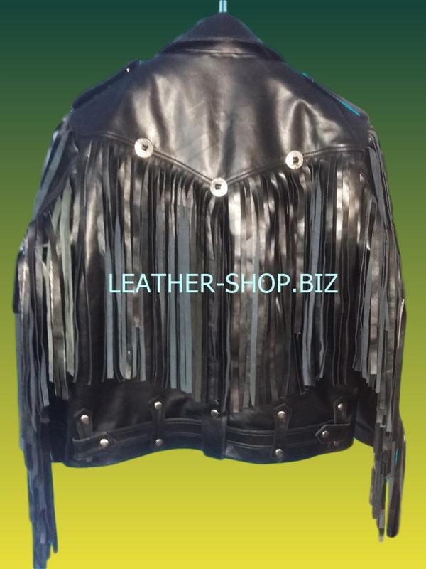 Leather jacket with fringes back custom made