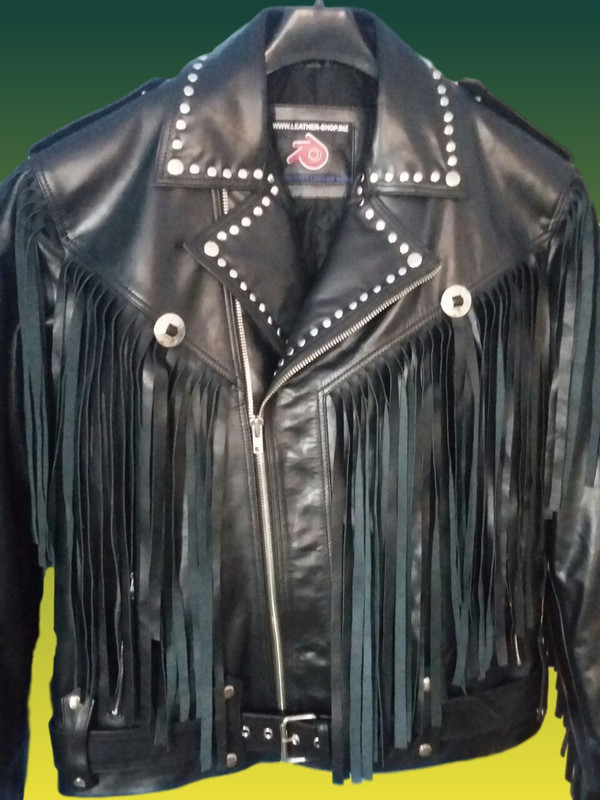 leather jacket with fringes and studs MLJF210