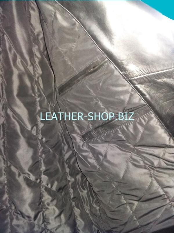 2 inside pockets left side of mens fringe leather jacket MLJF210