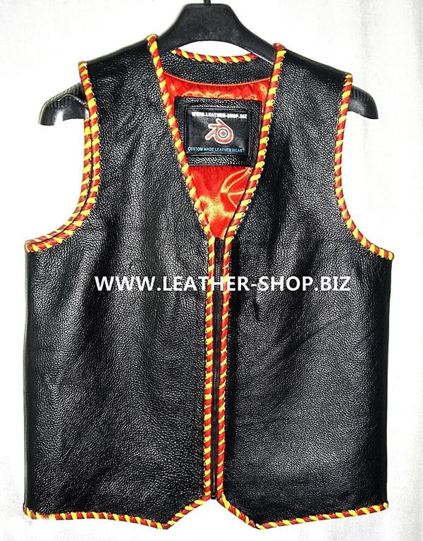 Mens leather vest with braid style MLVB1289, vest front pic.