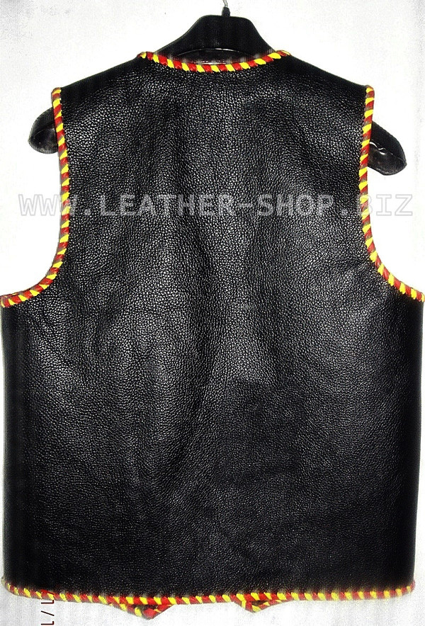 Мъжка кожена жилетка с шнур MLVB1289, жилетка за гърба.