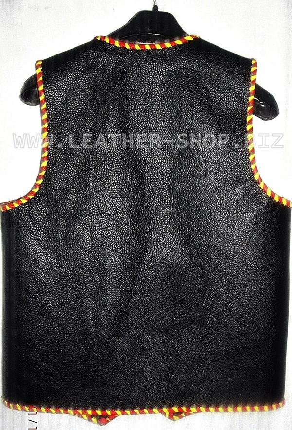 Mens leather vest with braid style MLVB1289, vest back pic.