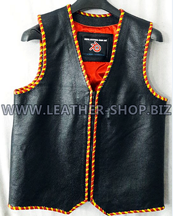 Mens leather vest with braid style MLVB1289 custom made WWW.LEATHER-SHOP.BIZ vest front pic 2