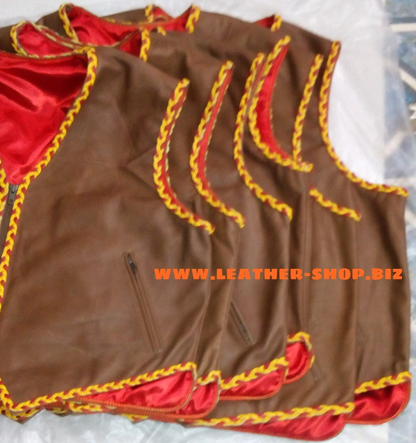 Mens leather vests with braid style mlvb725 front pic.