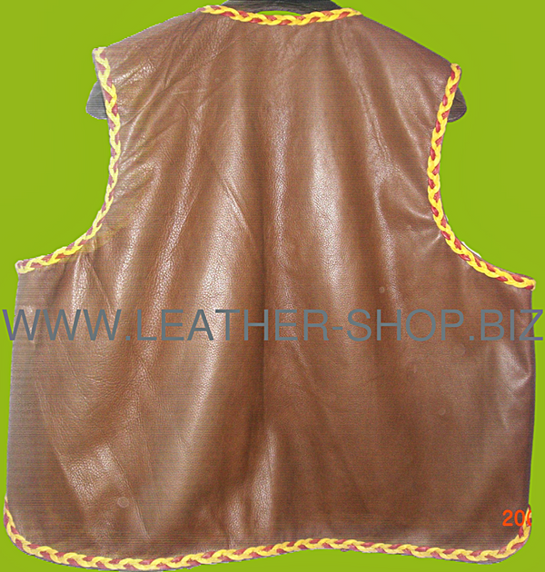 Mens leather vest with braid style mlvb725 back pic.