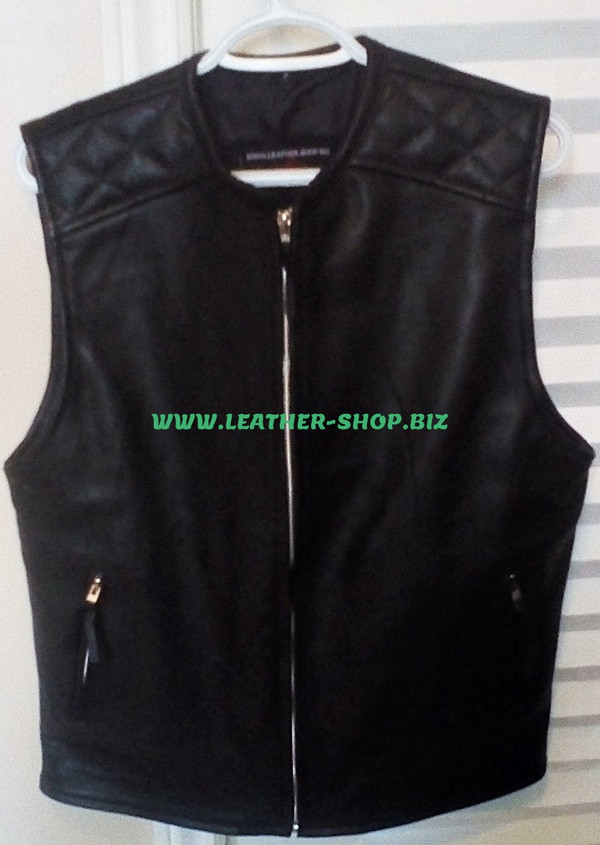 Mens biker Style Leather Vest MLV1375 www.leather-shop.biz front of vest, diamond stitching on front shoulders  pic