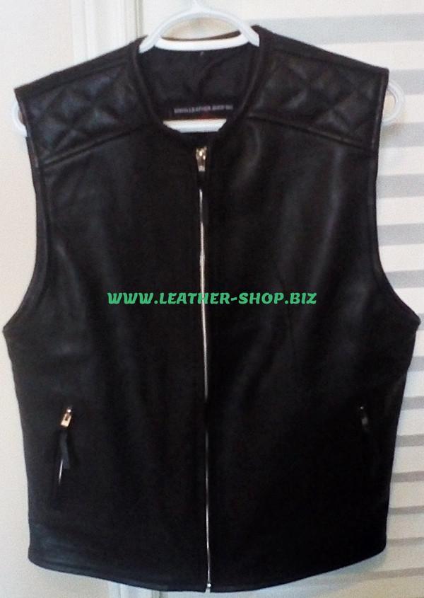 Mens biker Style Leather Vest MLV1375 www.leather-shop.biz front of vest, diamond stitching on front shoulders  pic
