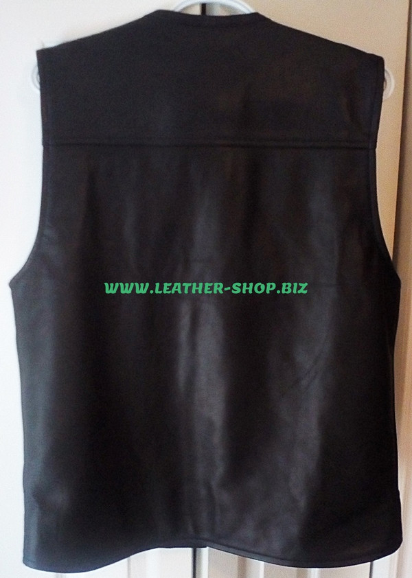 Mens biker Style Leather Vest MLV1375 www.leather-shop.biz back of vest minimal stitching add patches pic