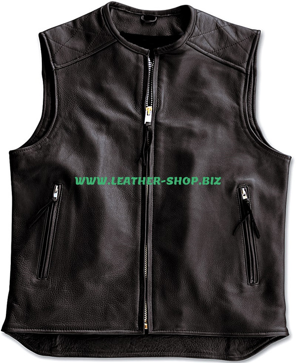 Mens biker Style Leather Vest MLV1375 www.leather-shop.biz front of vest pic