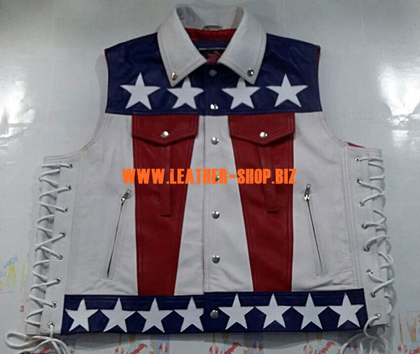 American flag leather vest style MLV1310A leather-shop.biz front of vest pic2