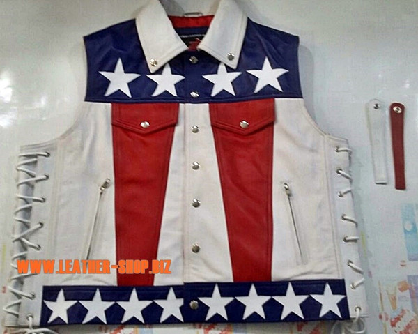American flag leather vest style MLV1310A leather-shop.biz front of vest and leather ribbons pic