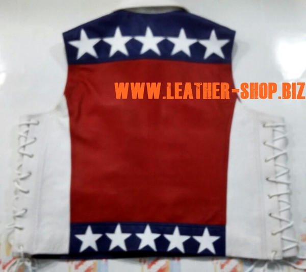 American flag leather vest style MLV1310A leather-shop.biz back of vest pic