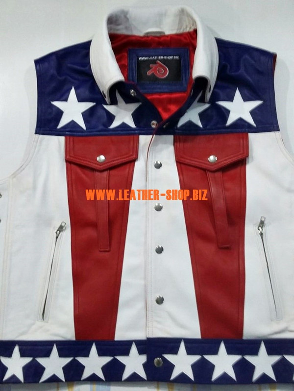 American flag leather vest style MLV1310A leather-shop.biz front of vest with red leather ribbons pic