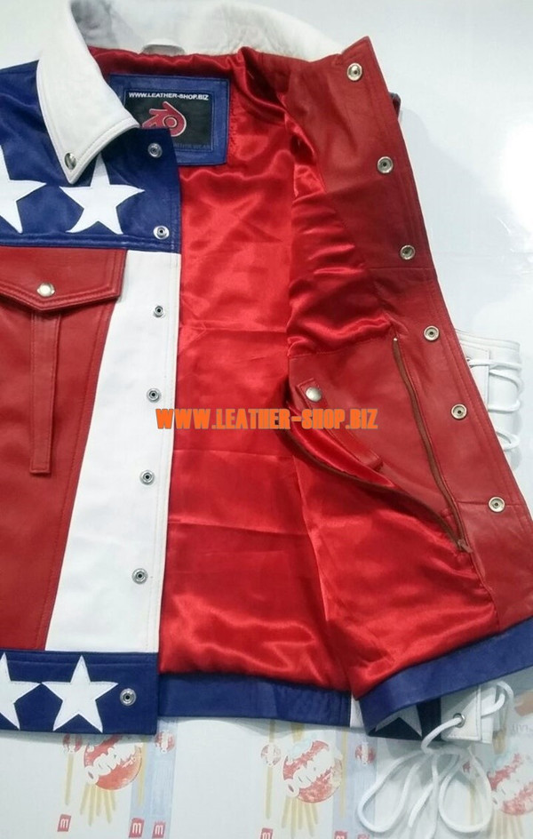 American flag leather vest style MLV1310A leather-shop.biz inside concealed gun pocket pic