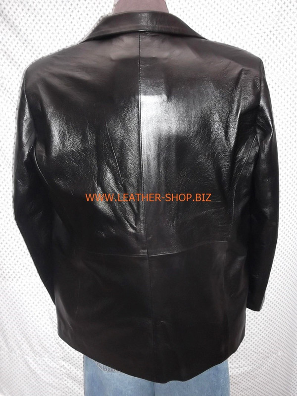 Mens black leather coat blazer style MLC0033 custom made LEATHER-SHOP.BIZ  back pic of coat 1
