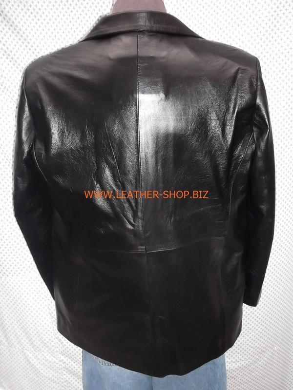 Mens black leather coat blazer style MLC0033 custom made LEATHER-SHOP.BIZ  back pic of coat 1