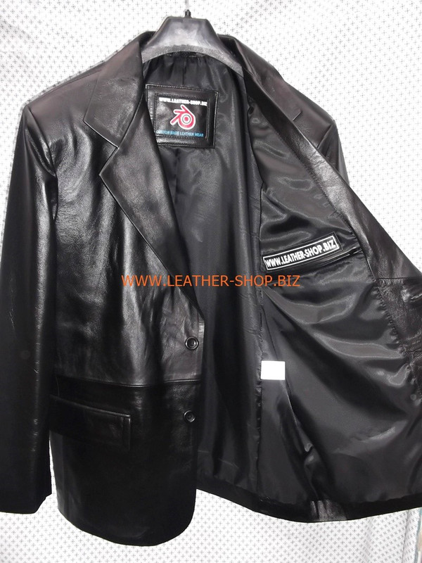 Mens black leather coat blazer style MLC0033 LEATHER-SHOP.BIZ inside pocket 1 of 2 left side pic