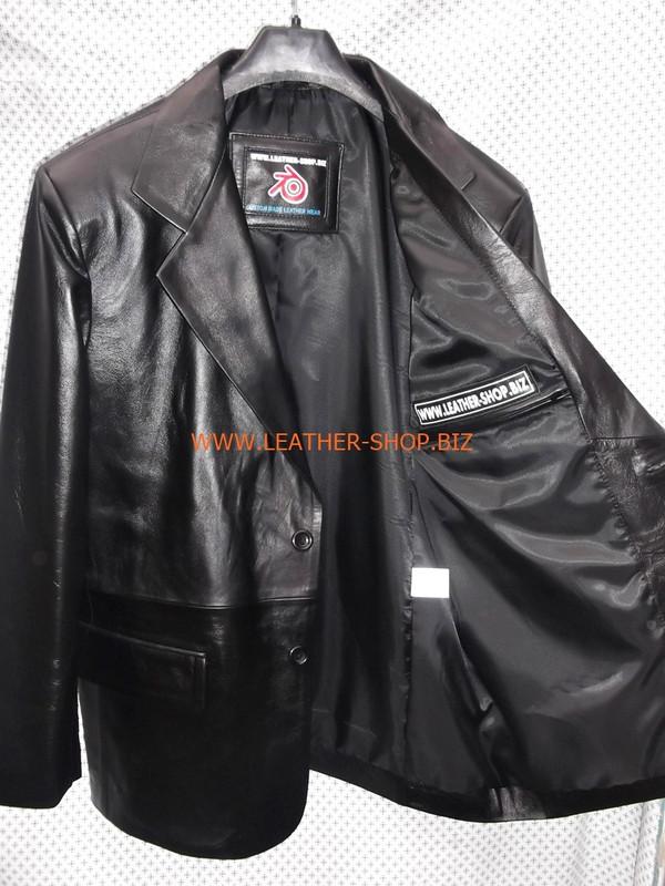 Schwarzer Herren Ledermantel im Blazer-Stil MLC0033 LEATHER-SHOP.BIZ Innentasche 1 von 2 Bild links