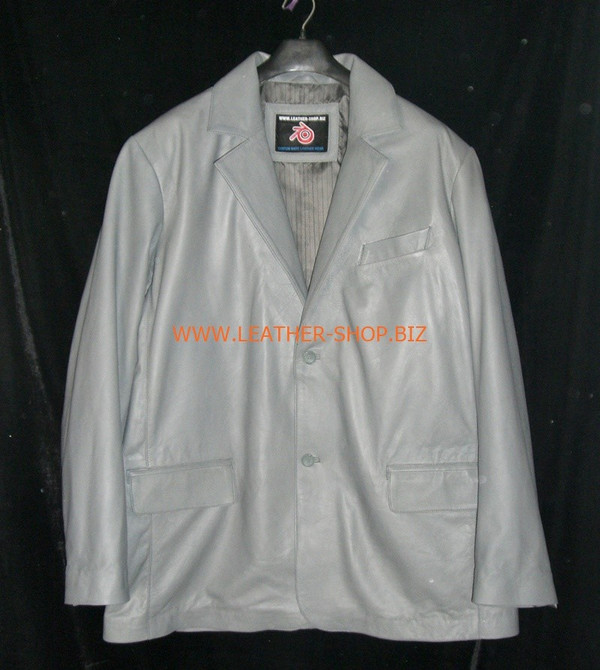 Mens gray leather coat blazer style MLC0033 custom made LEATHER-SHOP.BIZ  front pic of coat