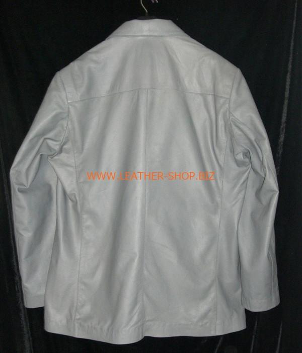Pánská šedá kožená bunda sako ve stylu MLC0033 na zakázku KOŽENÁ OBUV. Zadní obrázek kabátu