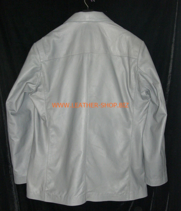 Mens gray leather coat blazer style MLC0033 custom made LEATHER-SHOP.BIZ  back pic of coat