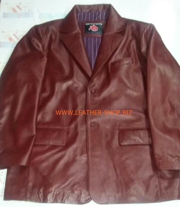 Mens burgandy leather coat blazer style MLC0033 custom made LEATHER-SHOP.BIZ  front pic of coat