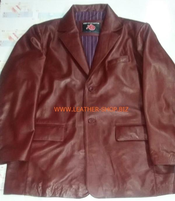 Herren Burgunder Ledermantel Blazer Style MLC0033 Maßanfertigung LEATHER-SHOP.BIZ vorderes Bild des Mantels
