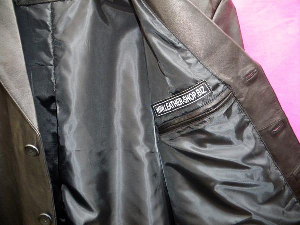 Leather Long Coat  Custom Made Style MLC542 WWW.LEATHER-SHOP.BIZ left inside pocket pic