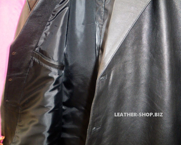 Leather Long Coat  Custom Made Style MLC542 WWW.LEATHER-SHOP.BIZ right inside pocket pic