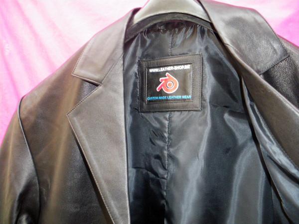 Leather Long Coat  Custom Made Style MLC542 WWW.LEATHER-SHOP.BIZ inside lining pic