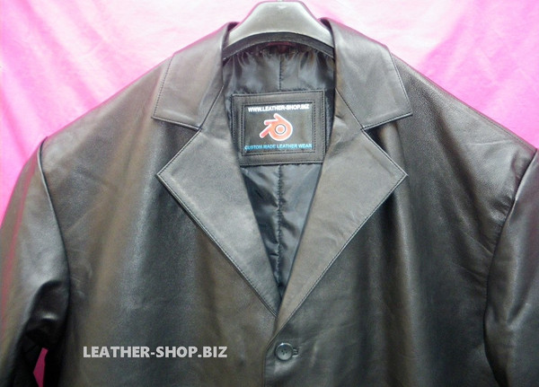 Leather Long Coat  Custom Made Style MLC542 WWW.LEATHER-SHOP.BIZ collar of coat pic