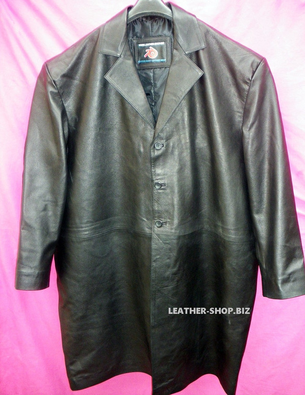 Leather Long Coat  Custom Made Style MLC542 WWW.LEATHER-SHOP.BIZ front of coat pic