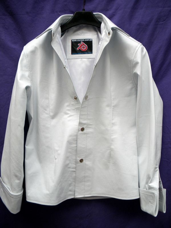 Mens lambskin leather shirt LS060 white with French Cuffs front pic
