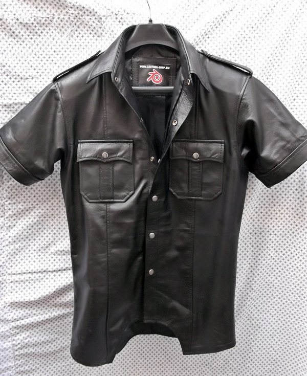 Leather shirt with short sleeves style LS205 custom made www.leather-shop.biz front of shirt image
