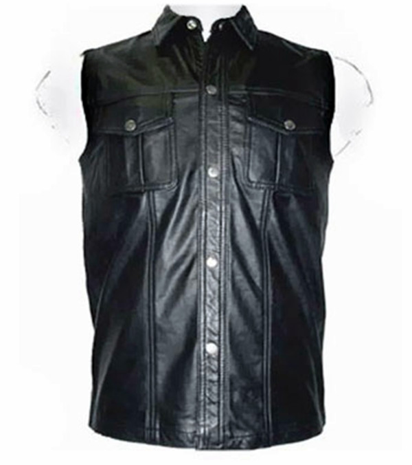Leather shirt sleeveless style LS255 www.leather-shop.biz front pic