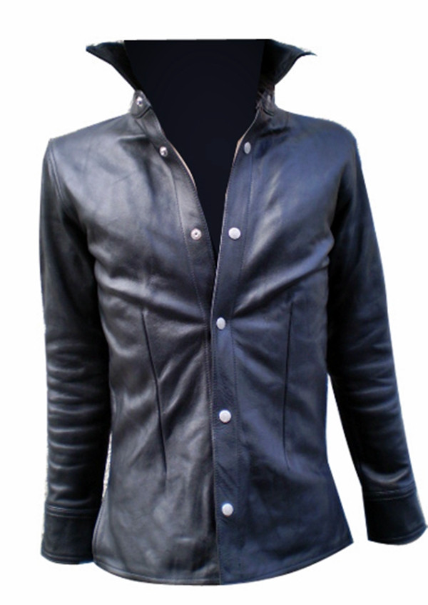 Leather shirt style LS060 black made to order www.leather-shop.biz front of shirt image
