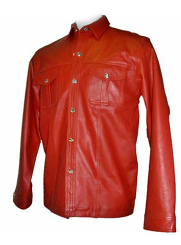 Leather shirt style LS029 red www.leather-shop.biz front image