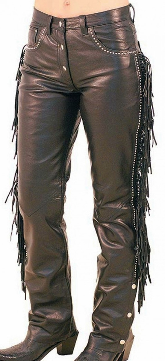 Leather pants with studs and fringe WLP2145FS WWW.LEATHER-SHOP.BIZ front pic