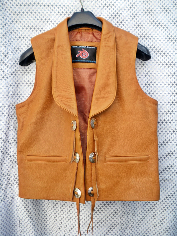 Mens Leather Vest Bonanza Style MLV75