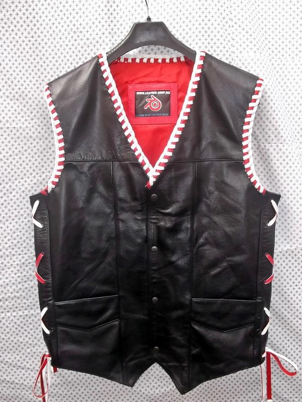 Leather Vest Braided Style MLVB730RW www.leather-shop.biz front pic